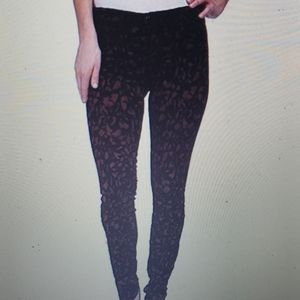 J Brand Mid Rise Super Skinny Mulberry Brocade New